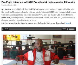 Pre-Fight Interview w/ UGC President & main-eventer Ali Nestor